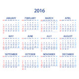 Calendar for 2016 on White Background. Week Starts Monday. Simple Vector Template. ART Stock Illustration