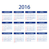 Calendar for 2016 on White Background. Week Starts Monday. Simple Vector Template. ART Stock Photo