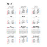 Calendar for 2016 on White Background. Week Starts Monday. Simple Vector Template Royalty Free Stock Images