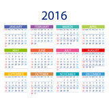 Calendar for 2016 on White Background. Week Starts Monday. Simple Vector Template. ART Stock Image