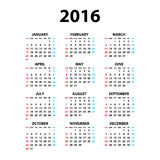 Calendar for 2016 on White Background. Week Starts Monday. Simple Vector Template Royalty Free Stock Photos