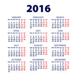 Calendar for 2016 on White Background. Week Starts Monday. Simple Vector Template. Art Vector Illustration