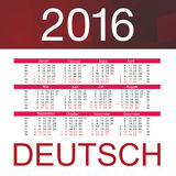 Calendar for 2016 on White Background. Week Starts Monday. Simple Vector Template. Deutsch. Calendar for 2016 on White Background. Week Starts Monday. Simple Royalty Free Stock Photo