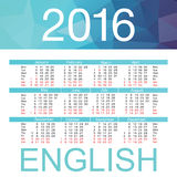 Calendar for 2016 on White Background. Week Starts Monday. Simple Vector Template. English. Calendar for 2016 on White Background. Week Starts Monday. Simple Stock Images