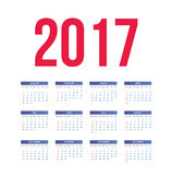 Calendar for 2017 on White Background. Stock Image