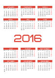 Calendar 2016. Calendar for 2016 on White Background. Week Starts Monday. Vector calendar template Royalty Free Stock Photos