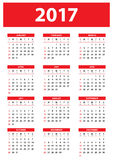 Calendar for 2017 on white background - week starts on Sunday. Calendar for 2017 on white background. Week starts on Sunday. Simple vector print template - EPS10 Stock Photos