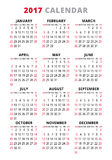 2017 Calendar On White Background. Week Starts Sunday. Simple Vector Template Royalty Free Stock Photo