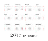 Calendar 2017 On White Background. Week Starts Sunday. Week Starts Sunday. Simple Vector Template Calendar 2017 On White Background Vector Illustration