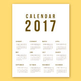 Calendar 2017 On White Background. Week Starts Sunday. Simple Vector Template Stock Images