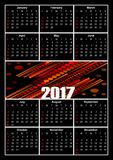 Calendar 2017, white letters on black background, decorative abstract patterns in the middle. Vector eps10 Royalty Free Illustration