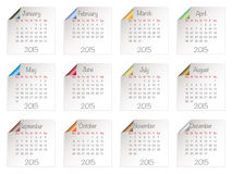 Calendar for 2015. On white paper notes, with shiny page curls Royalty Free Stock Images