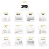 Calendar 2015. On white reminders Royalty Free Stock Image