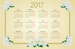 Calendar 2017 white rhododendron flowers vintage vector. Calendar 2017 with white rhododendron flowers vintage vector illustration Stock Photo