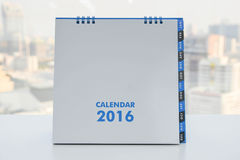 Calendar of 2016. On the white table with city view background royalty free illustration