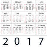 Calendar 2017 white Vector background. Stock Image