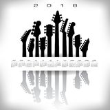 2018 Calendar with a whitespace musical banner Royalty Free Stock Photos