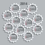 2014 calendar. Whith gears - vector illustration Royalty Free Stock Photo