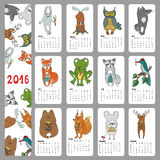 Calendar 2016.Wild animals ,Woodland doodles Royalty Free Stock Photo