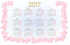 Calendar 2017 with wild rose blossoms vintage vector Stock Photos