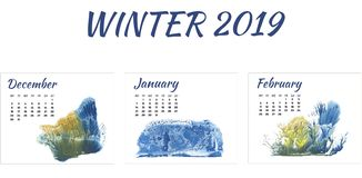 Calendar 2019 winter, forest in different season on white background royalty free stock photos