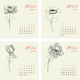 Calendar With Flowers For 2011. Stock Photo