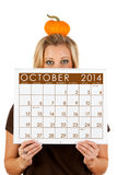 2014 Calendar: Woman Ready For Fall October Season Royalty Free Stock Images
