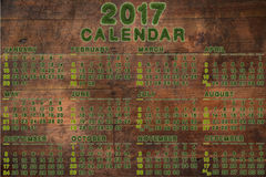 Calendar for 2017 on wood background. 3d rendering Stock Images