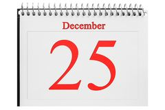 The calendar on the wood background. December 25 in the calendar on the wood background Royalty Free Stock Images