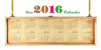 Calendar 2016. 2016 calendar on wooden sign background., Hanging on a gold chains Stock Photo