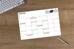 Calendar on wooden Table Stock Photo