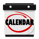 Calendar Word Schedule Planner Tear Pages Day Date Stock Photo