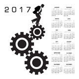 2017 calendar with a worker in the rat race graphic. For print or web Royalty Free Stock Photos