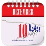 Calendar World Football Day. Calendar with the date of December 10 - World Football Day royalty free illustration