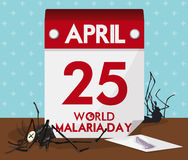 Calendar with World Malaria Day Date and Dead Mosquitoes, Vector Illustration Stock Photography
