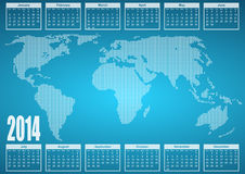 2014 calendar. With world map stock illustration