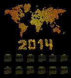 2014 calendar world map. 2014 calendar with world dot map Stock Photos