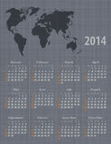 Calendar 2014 world map linen texture. Stylish calendar 2014 world map linen texture. Sundays first. Vector illustration Royalty Free Stock Photography