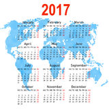 Calendar 2017 with world map. Week starts on Monday. Royalty Free Stock Photos
