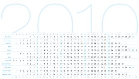 Calendar for year 2010. Calendar for 2010. Horizontal design stock illustration