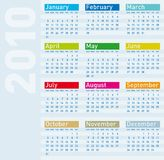 Calendar for year 2010 Royalty Free Stock Image