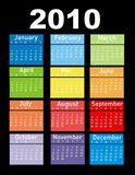 Calendar for year 2010. Colorful Calendar for year 2010 Royalty Free Stock Photography