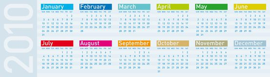 Calendar for year 2010. Calendar for year 2010, in vector format Stock Photo