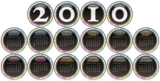 Calendar for year 2010. Royalty Free Stock Image