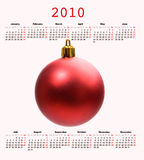 Calendar of year 2010 with a Christmas ball Royalty Free Stock Photos