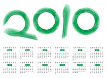 Calendar for year 2010, in vector format Royalty Free Stock Images