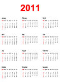 Calendar for year 2011. Simple calendar for year 2011 Royalty Free Stock Photography