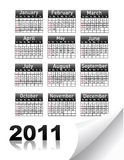 Calendar for Year 2011. On white Stock Images