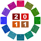 Calendar for year 2011. Isolated over white royalty free illustration