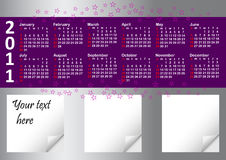Calendar for year 2011. Calendar for year 2011 against silver background with note papers Royalty Free Stock Photography